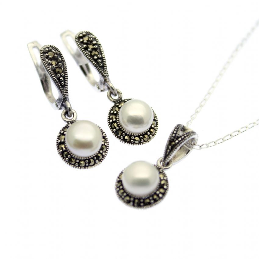 Pearl & Marcasite Pendant Necklace & Omega Earring Set Sterling Silver